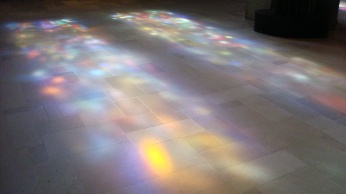 Stained glass lighting the floor of Grace Cathedral, San Francisco, California