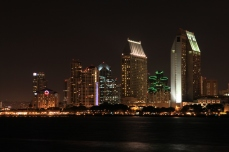 San Diego skyline at night, San Diego, California