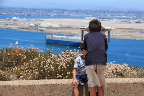 Ship watching, Cabrillo National Monument, San Diego, California