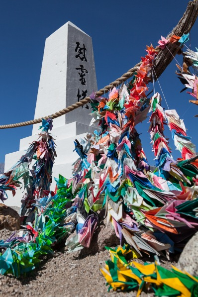 Cemetery monument and origami cranes, Manzanar National Historic Site, California
