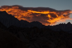Clouds, sunset, Mount Whitney