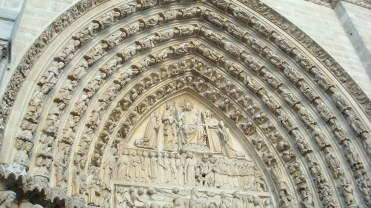 Carvings at Notre Dame cathedral, Paris,, France