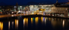 The Luzern train station at night